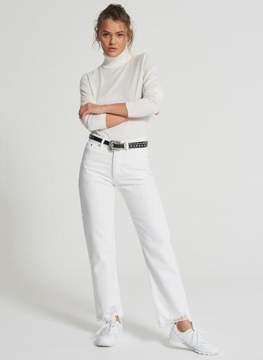 Pi π Paça Detaylı Jean Pantolon Beyaz